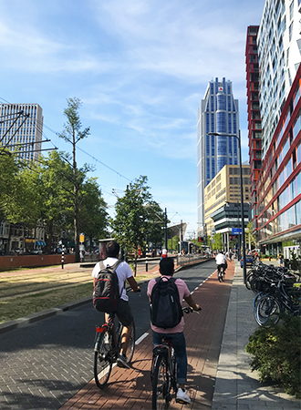 Bikers on the streets in Rotterdam