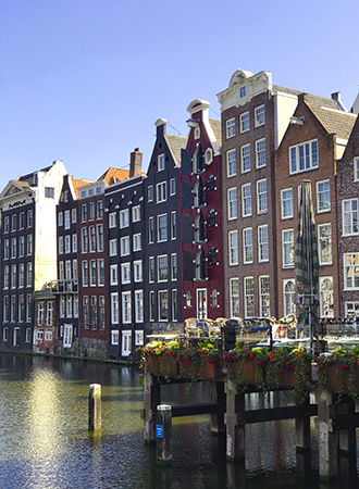 Canal houses in the city center of Amsterdam
