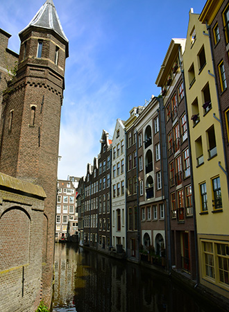 Medieval buildings in the city center of Amsterdam