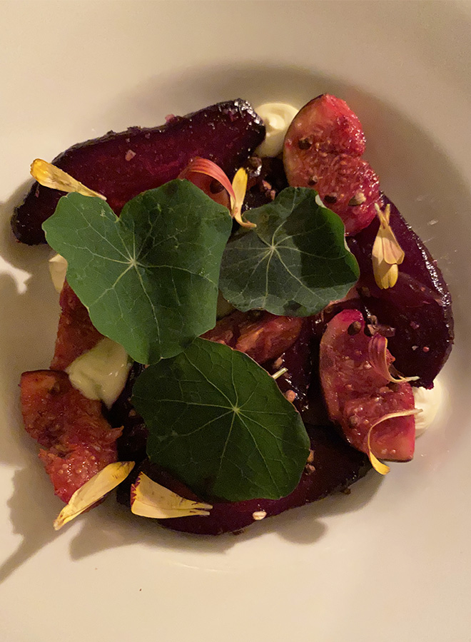 A vegetarian recipe with beetrot at the Bar Agrikultur in Stockholm
