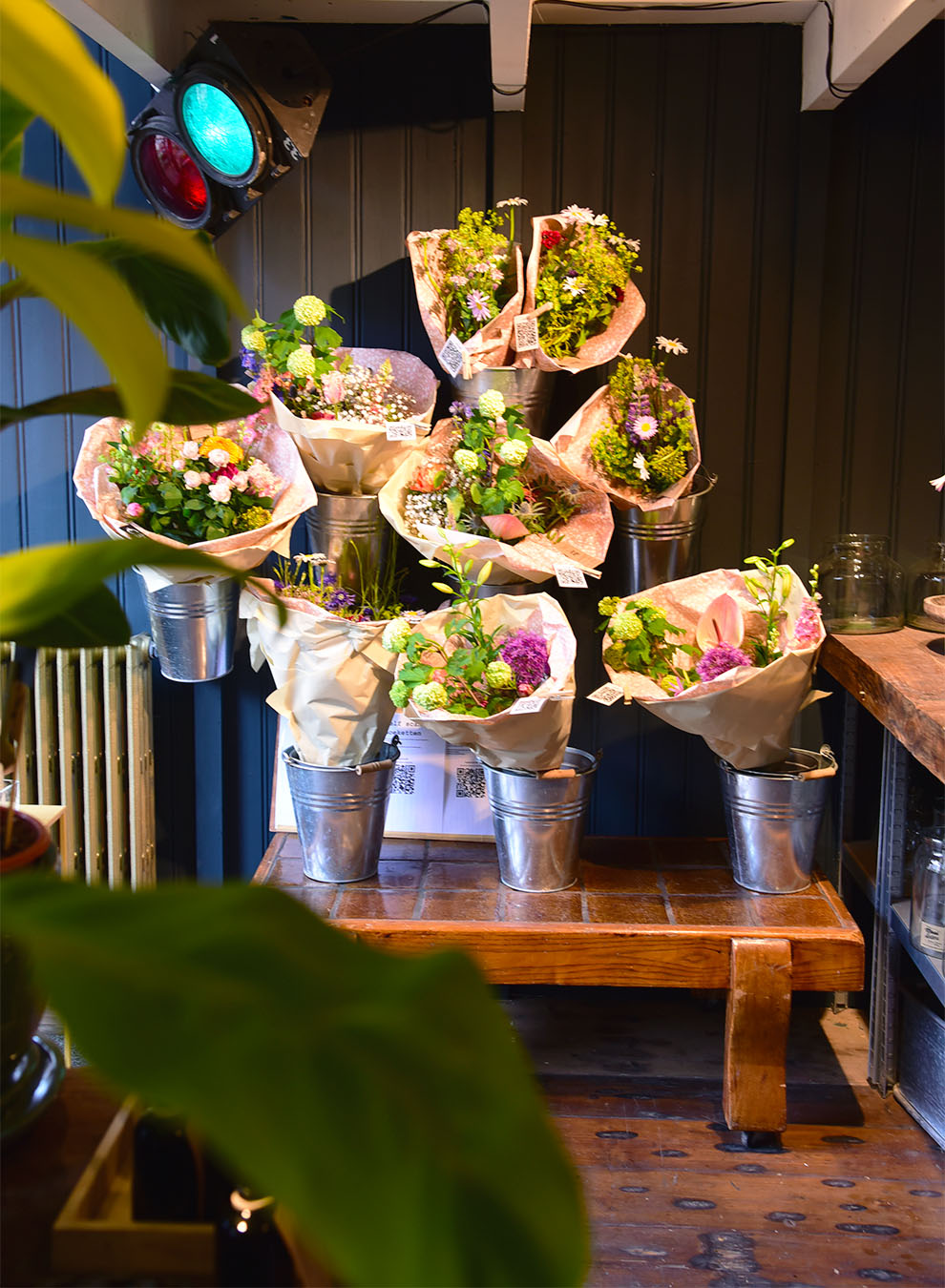 Bouquets of ecological flowers at the flower shop Mooi Anders in Amsterdam
