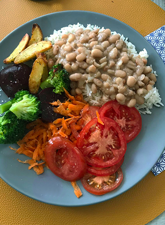 Typical dish from Brazil with rice and beans