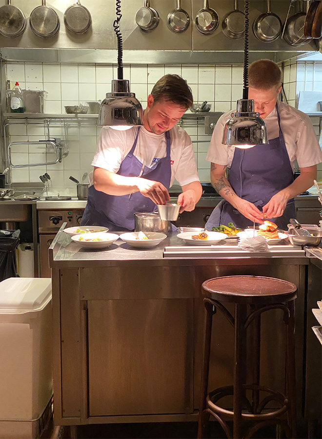 The kitchen of the Café Nizza in Stockholm