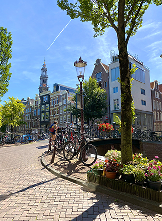 Canal view in Amsterdam during summertime