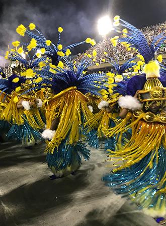 Desfile das escolas de samba no Carnaval do Rio de Janeiro