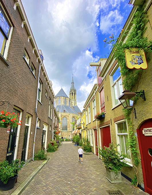 Streets of Delft city in the Netherlands