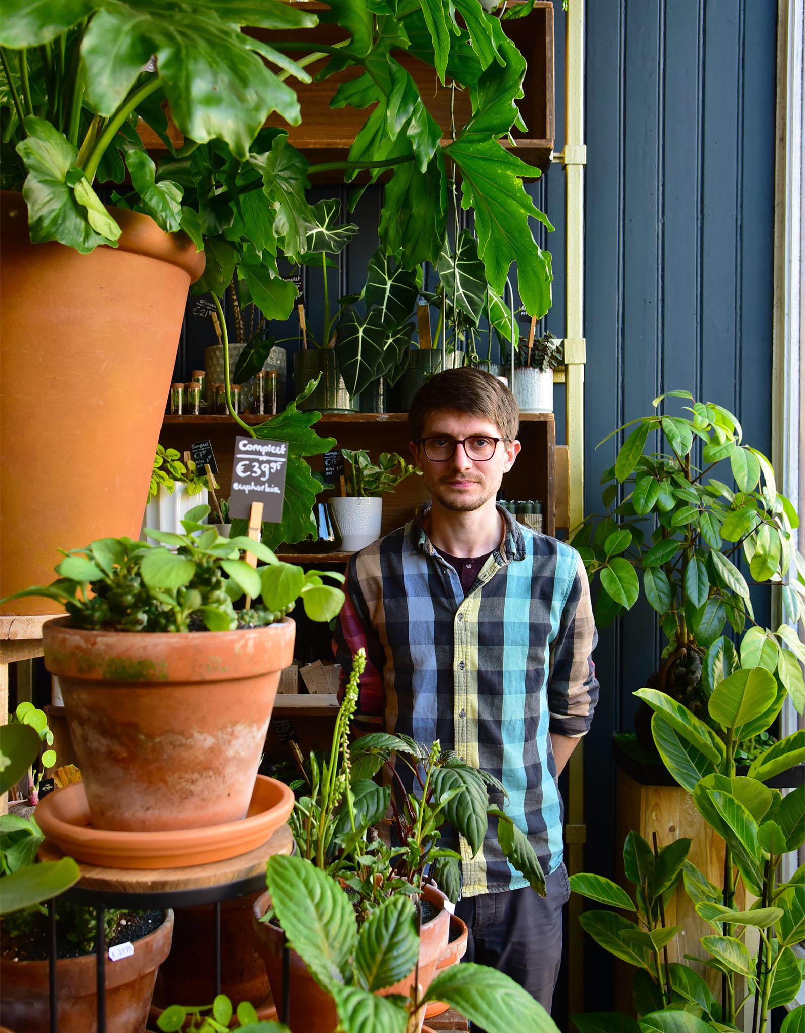 The Dutch florist Dennis Lanzaat at his shop in Amsterdam