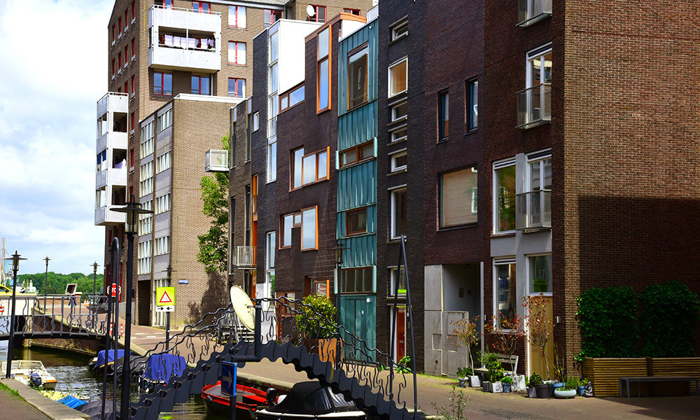 Innovative architecture style at the Eastern Docklands in Amsterdam