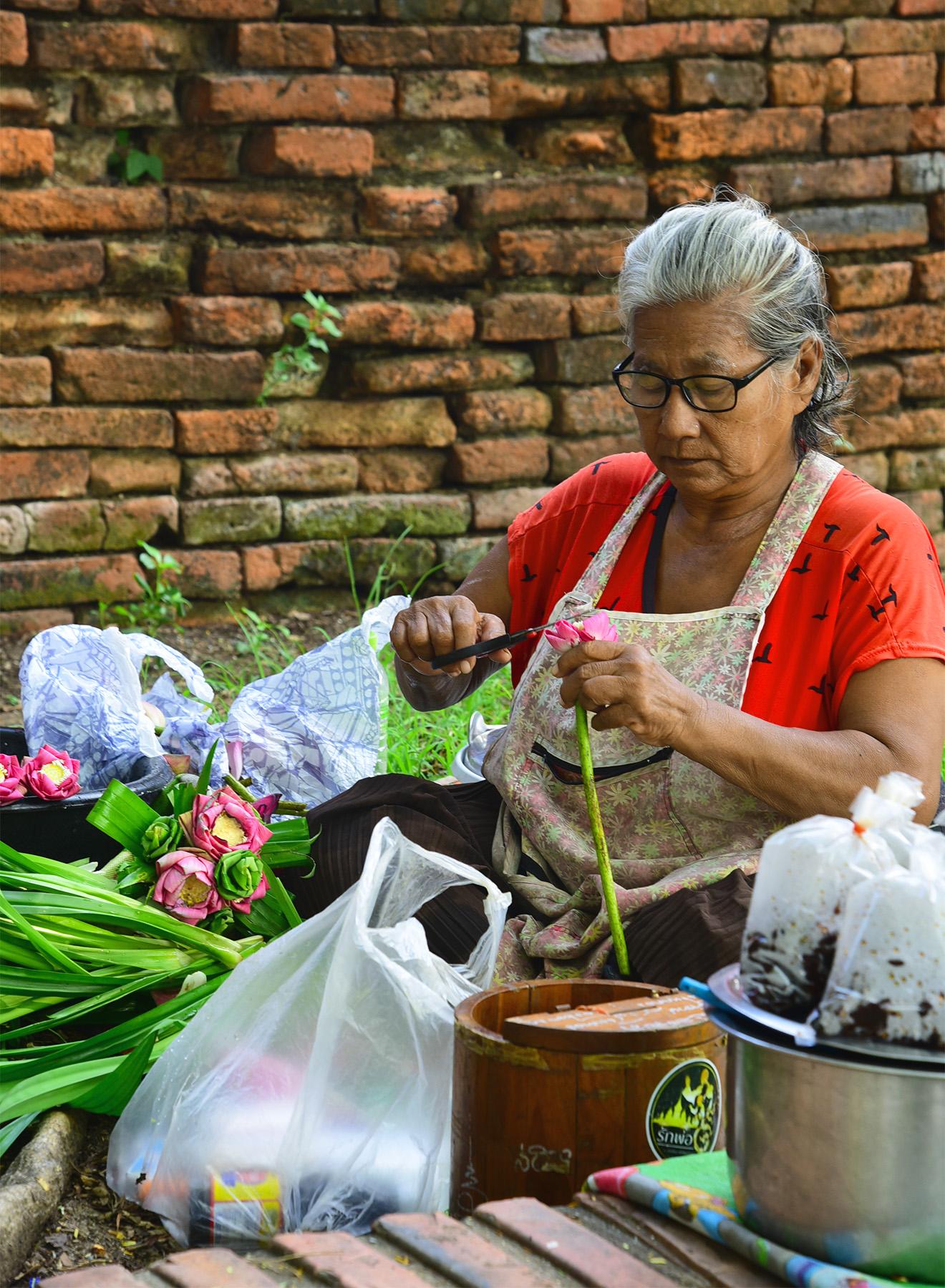 Handmade lotus flower in Ayutthaya in Thailand