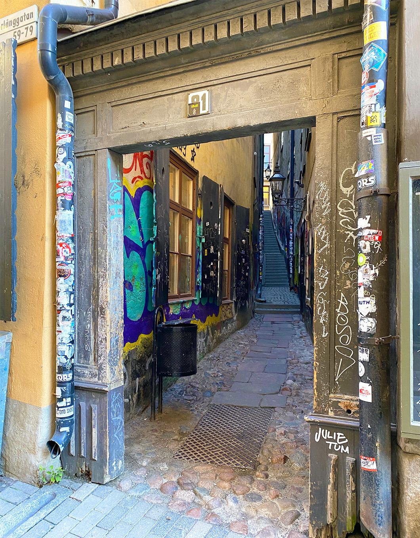 The narrow street of Mårten Trotzigs Gränd in Stockholm