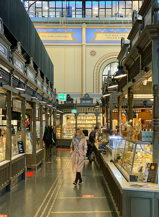 The Swedish famous food court Ostermalms Saluhall in Stockholm