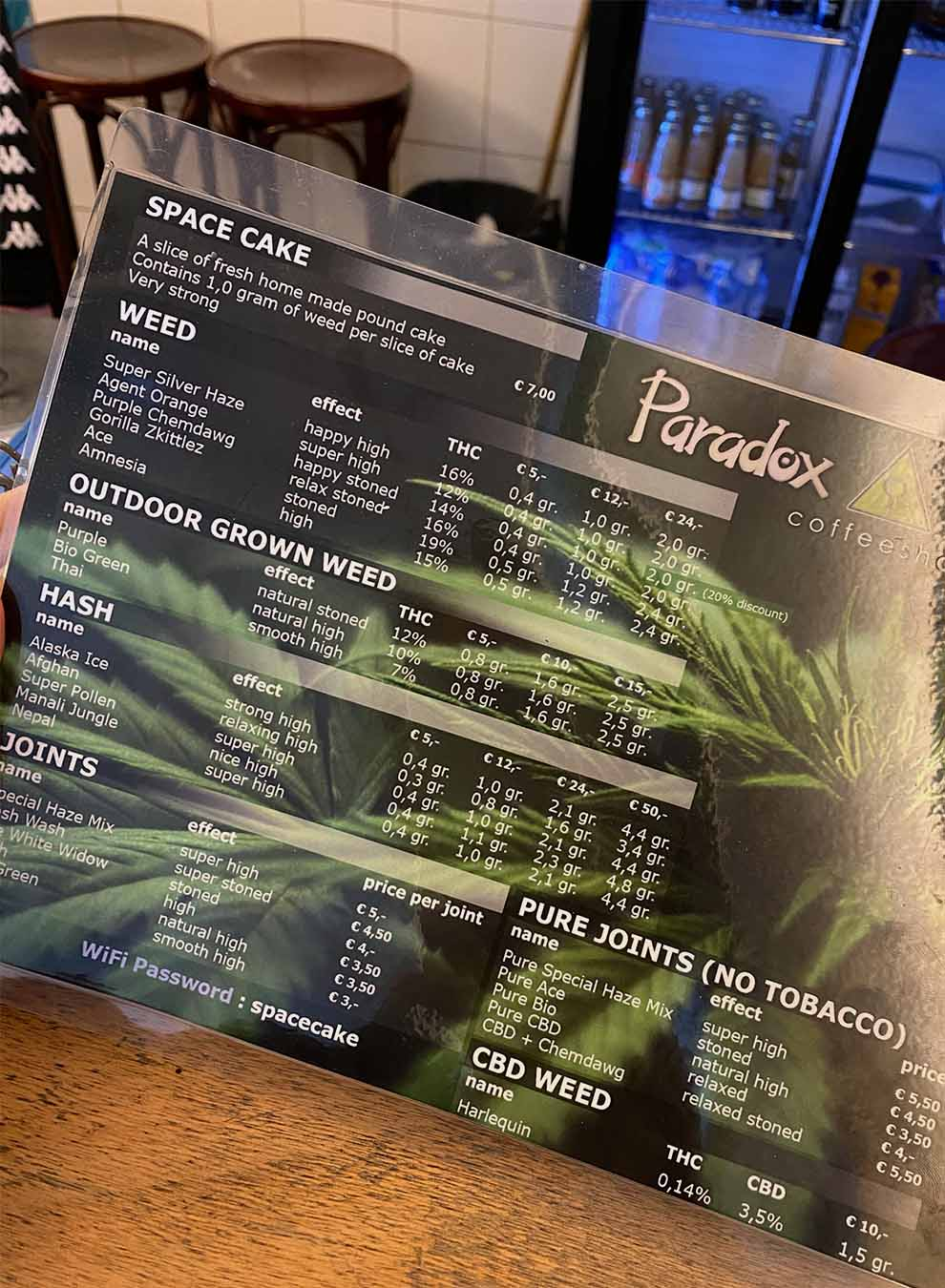 Cannabis menu at the coffeeshop Paradox in Amsterdam