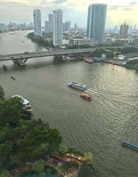 View of the Chao Phraya River from above at the Shangrila Hotel Bangko