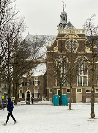 Amsterdam city covered with snow