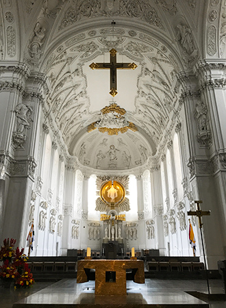 The interior of the Dom cathedral in Wurzburg