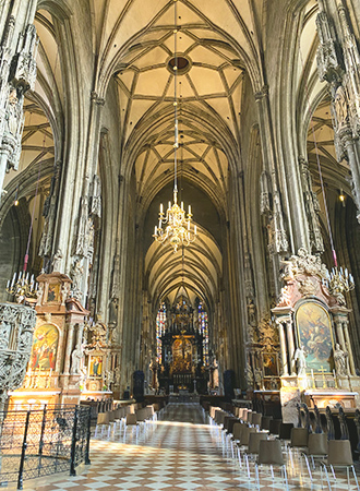 The gothic architecture of the St Stephen Cathedral in Vienna