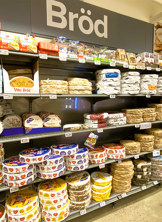 Typical Swedish bread at a supermarket in Stockholm