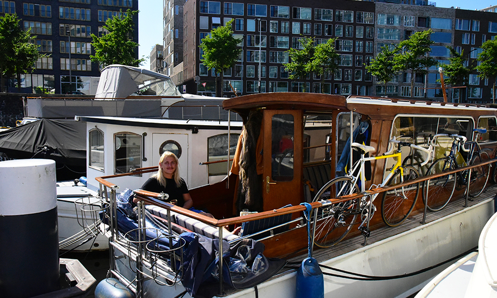 The young Dutch actor Tarik Moree on his houseboat in Amsterdam