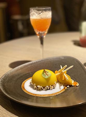 Sobremesa do restaurante Michelin Tian em Viena