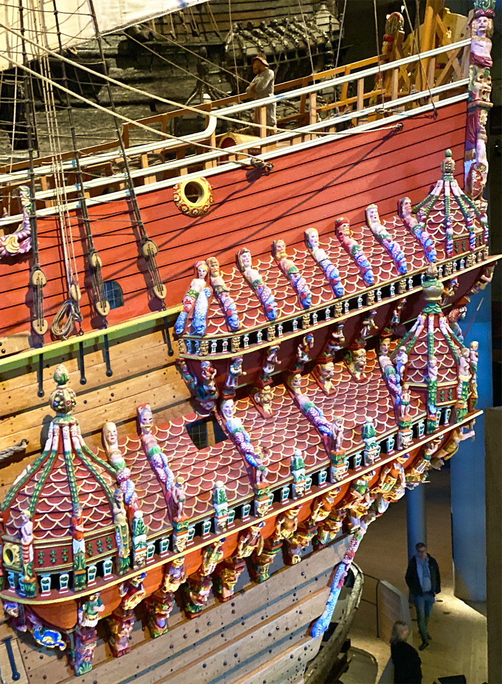 Colorful details of the Vasa boat replica