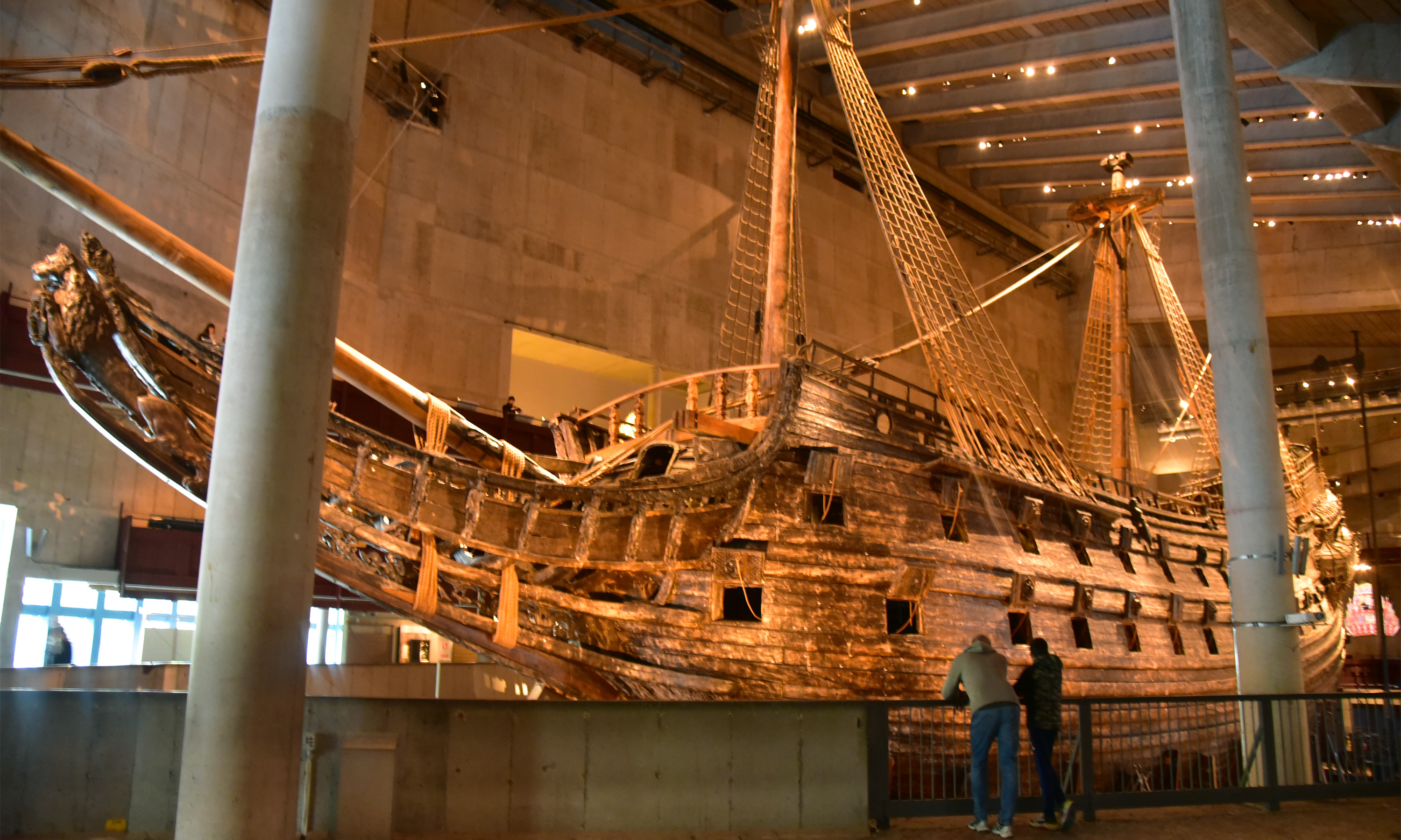 Panorama view of the Vasa boat inside the Vasa museum in Stockholm