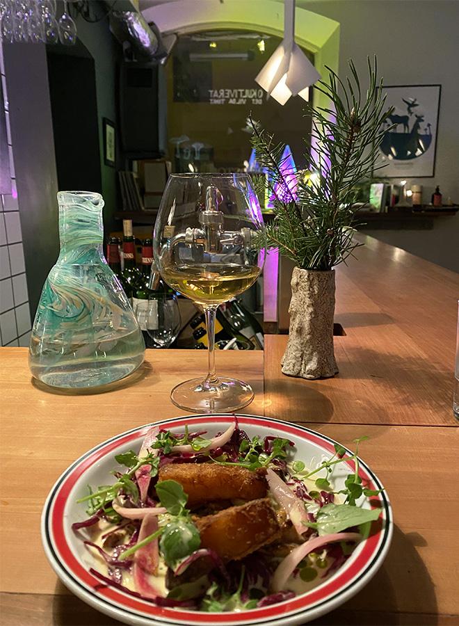 A vegetarian recipe served at the Woodstockholm restaurant in Stockholm
